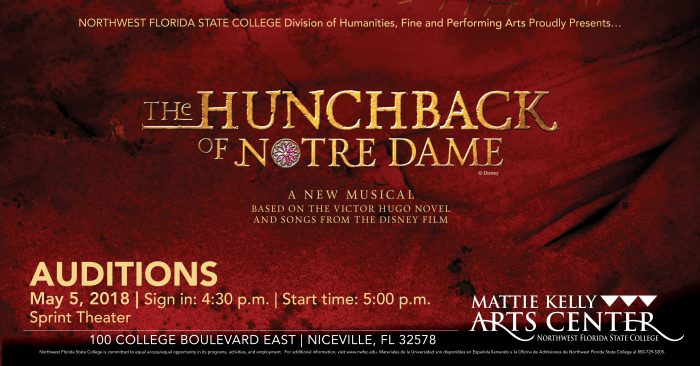 Hunchback of Notre Dame Auditions May 5 at 5pm