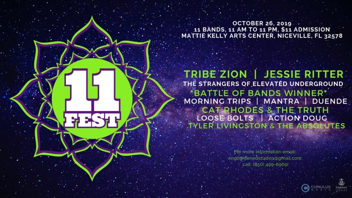Enlightened Studios & Cumulus Media presents 11FEST: 11 bands on October 26, 2019 from 11am - 11pm. $11 Admission at the Mattie Kelly Arts Center in Niceville, FL.