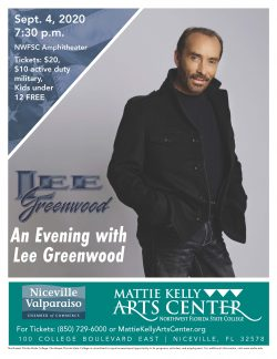Lee Greenwood will be gracing the stage of the Mattie Kelly Arts Center Amphitheater, September 4, 2020 at 7:30 p.m.